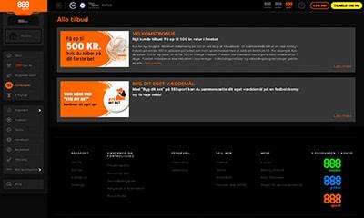 888 Sport byder på en moderne hjemmeside