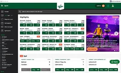 Mr Green Sport har en fremragende hjemmeside